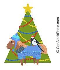 Donkey in warm winter cloth, bullfinch in santa s hat