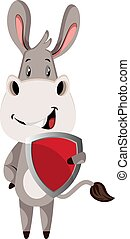 Donkey with shield, illustration, vector on white background.