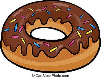Cartoon Illustration of Sweet Donut Cake with Chocolate Clip Art