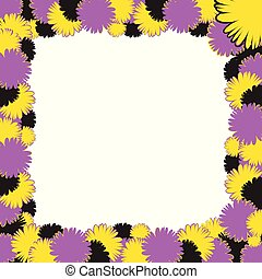 Doodle color frame from flowers with space for your text, useful as greeting cards or advertising - square