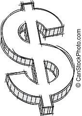 Vector pencil style doodle of money sign. No gradient.