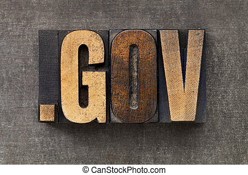dot gov - internet domain for government in vintage wooden letterpress printing blocks on a grunge metal sheet