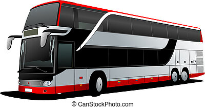 Double Decker red bus. Tourist coach. Vector illustration