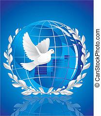 dove of peace near globe