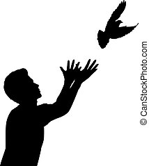 Editable vector silhouette of a man releasing a dove