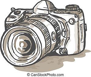 hand sketch drawing illustration of a digital SLR camera