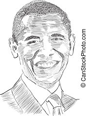 Drawing the United States President Obama. Vector.