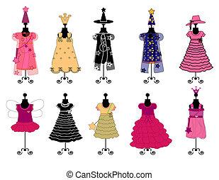 Dresses for girls. costumes vector