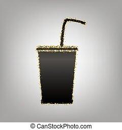 Drink sign illustration. Vector. Blackish icon with golden stars at grayish background.. Illustration.