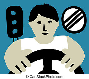 Unrecognizable person is looking like a driver. Several symbols of profession on the background. Color vector illustration.