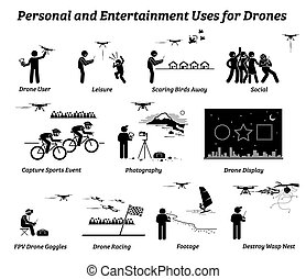 Drone usage and applications for personal and entertainment.
