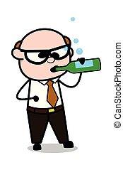 Drunk - Retro Cartoon Father Old Boss Vector Illustration