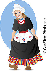 Young lady in traditional dutch folk costume