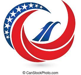 Eagle USA flag vector symbol logo