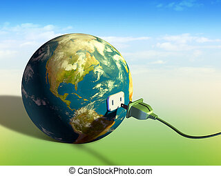 Electrical cord plugging into planet Earth. Digital illustration.