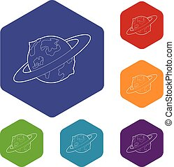 Earth planet icons vector hexahedron