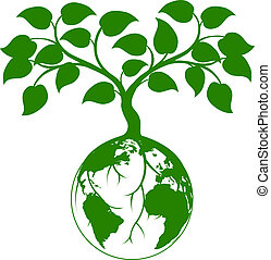 Illustration of a tree growing with its roots round the earth or growing out of the earth