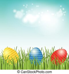 Easter background with copyspace in the sky featuring
