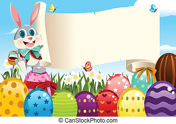 A vector illustration of an Easter bunny holding a blank sign surrounded by Easter eggs