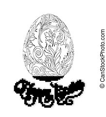 Easter egg with pattern in zentangle style. Coloring book for adult and older children. Coloring page. Outline drawing. Vector illustration. Template for hand made card.