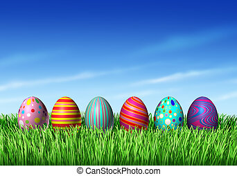Easter Egg hunt with easter eggs in a row sitting on green grass and blue sky as a symbol of spring and the a holiday decoration and design element of the renewal season.