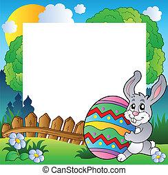 Easter frame with bunny holding egg - vector illustration.