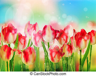 Easter spring background with tulips. EPS 10