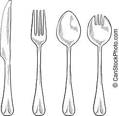 Doodle style eating utensils illustration in vector format including knife, fork, spoon, and spork