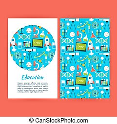 Education Banner Template. Flat Style Vector Illustration of Brand Identity for School and Science Promotion.