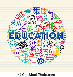 Back to school global icons education text over paper sheet background. EPS10 vector file organized in layers for easy editing.
