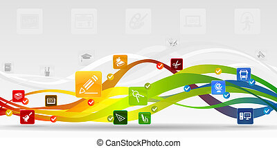 Education mobile applications vector abstract background