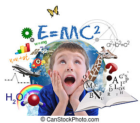 A young boy is looking up at different science, math and physics icons around him on a white background. Use it for a school or learning concept.