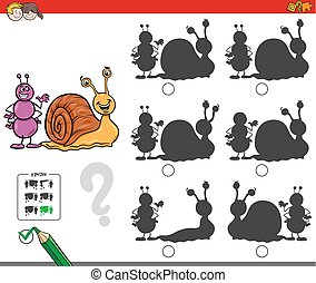 Cartoon Illustration of Finding the Shadow without Differences Educational Activity for Children with Ant and Snail Animal Characters