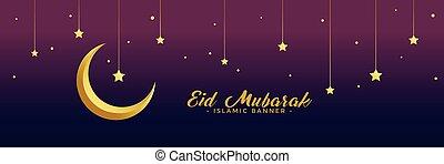 eid mubarak festival golden moon and stars banner