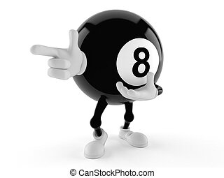 Eight ball character pointing isolated on white background