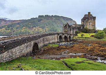 Eilan Donan castle in Scotland on a grey day