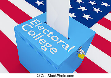 3D illustration of 'Electoral College' script on a ballot box, with US flag as a background.