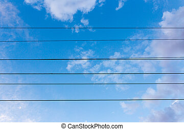 electrical wires on a background of night sky