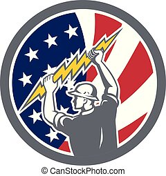 Icon retro style illustration of American electrician, lineman holding lightning bolt with United States of America USA star spangled banner stars and stripes flag inside circle isolated background.