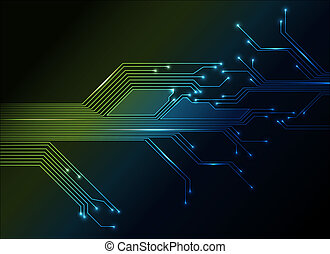 electronic circuit abstract green and blue background