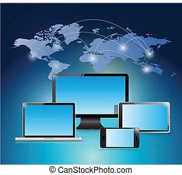 electronic world network illustration design over a white background