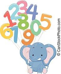 Elephant Balloon Numbers Illustration
