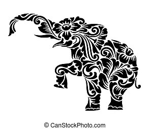 Nice Elephant Floral Ornament Decoration Vector. Elephant with flora decorative ornament. Good use for your tattoo, symbol, mascot, icon, or any design you want. Easy to use, edit or change color.