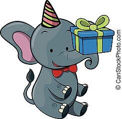 elephant using birthday party