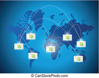 email communication concept around the world .