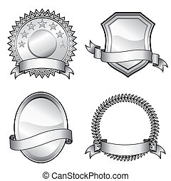 Black and white vector format of emblem elements.