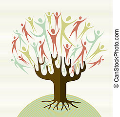 Family human shapes conceptual tree. Vector file layered for easy manipulation and custom coloring.
