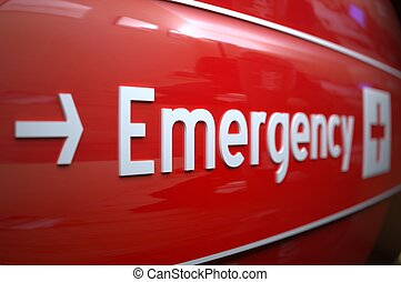 Short focus on an emergency sign at a hospital.