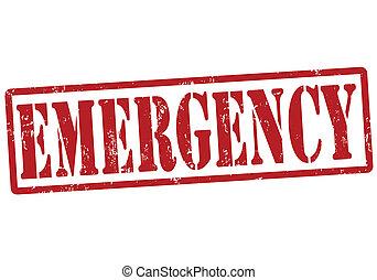 Emergency grunge rubber stamp on white, vector illustration