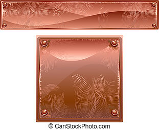 Empty Copper Metal Plates with Rivets